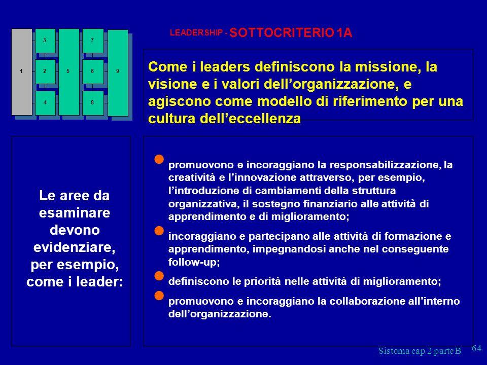 Le aree da esaminare devono evidenziare, per esempio, come i leader: