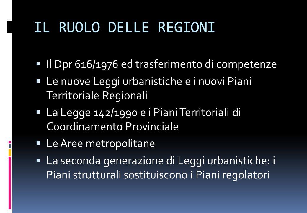 IL RUOLO DELLE REGIONI Il Dpr 616/1976 ed trasferimento di competenze