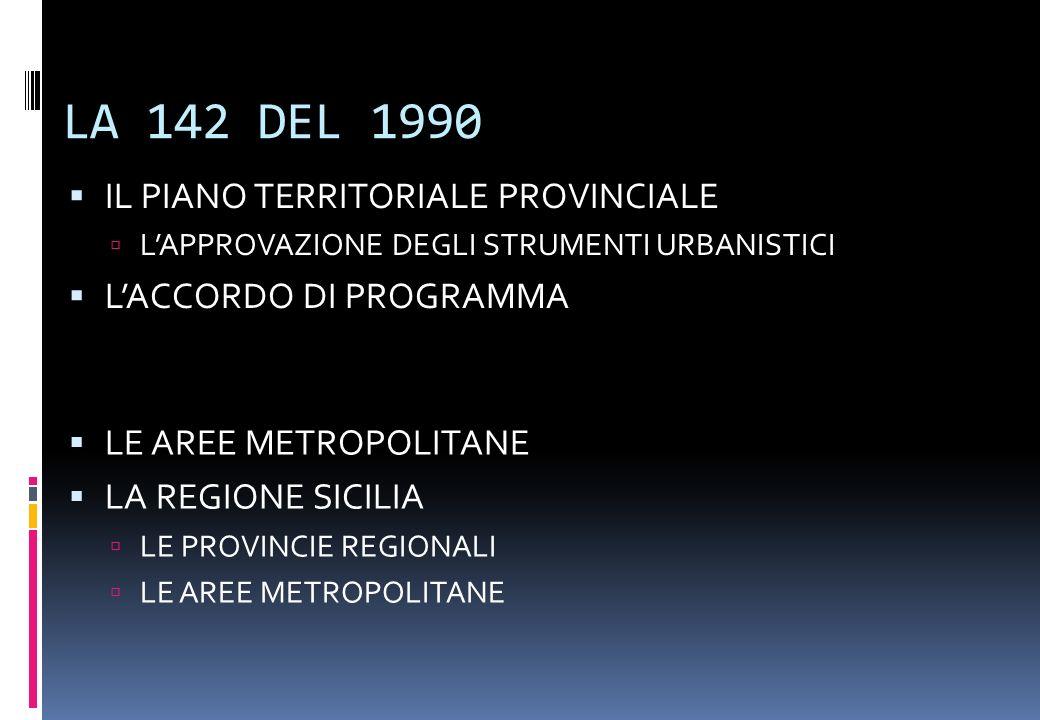 LA 142 DEL 1990 IL PIANO TERRITORIALE PROVINCIALE