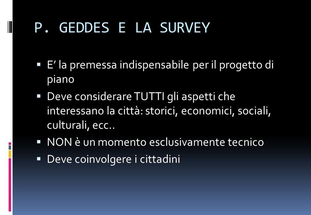 P. GEDDES E LA SURVEY E' la premessa indispensabile per il progetto di piano.