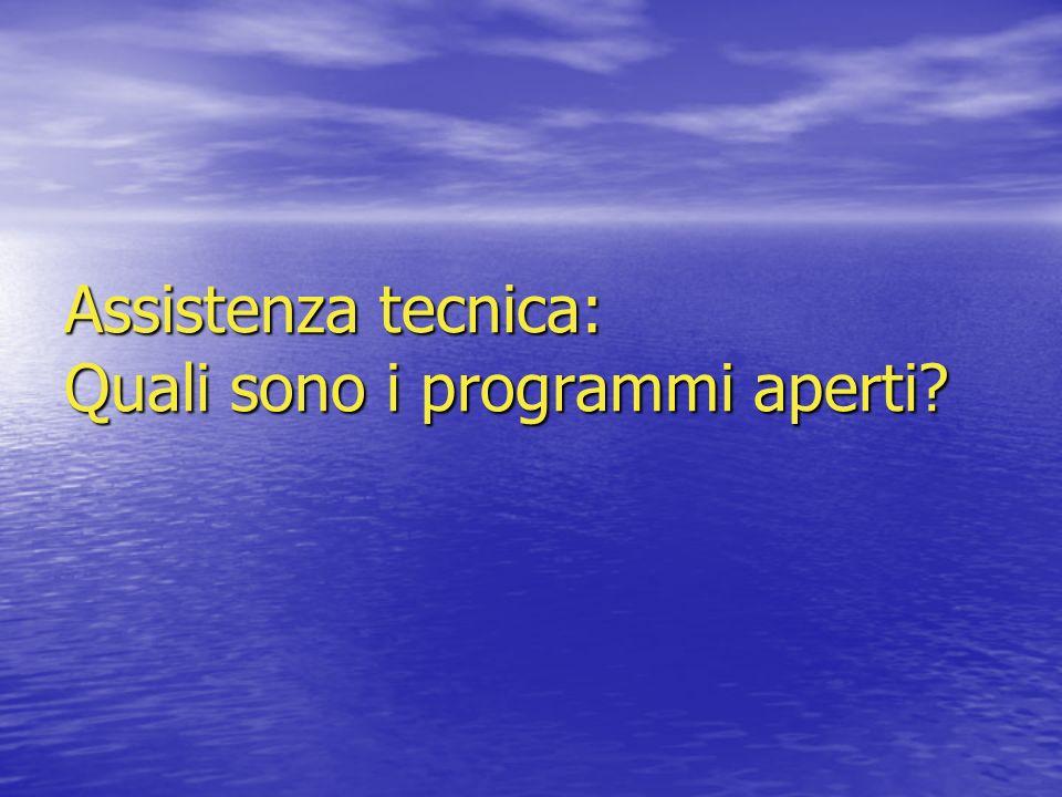 Assistenza tecnica: Quali sono i programmi aperti