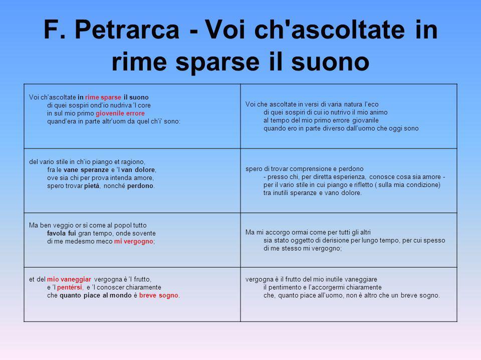 F. Petrarca - Voi ch ascoltate in rime sparse il suono