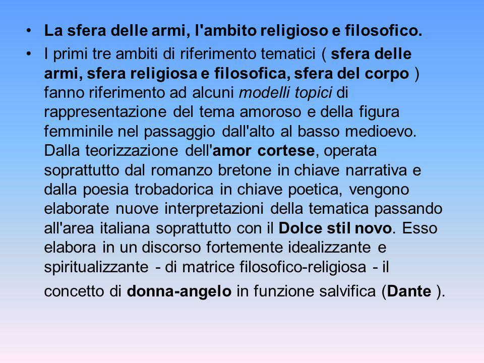 La sfera delle armi, l ambito religioso e filosofico.