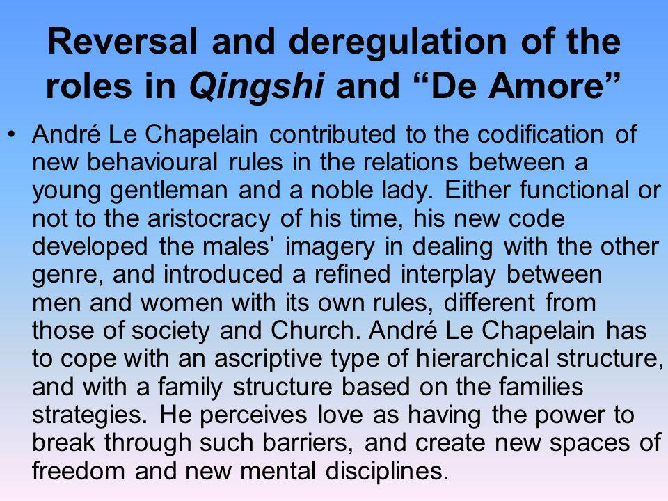 Reversal and deregulation of the roles in Qingshi and De Amore