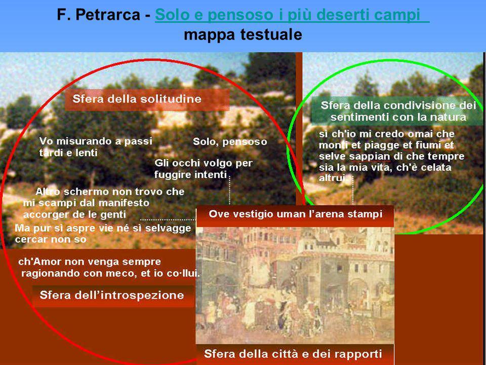 F. Petrarca - Solo e pensoso i più deserti campi mappa testuale