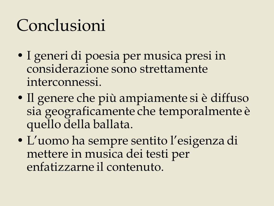 Conclusioni I generi di poesia per musica presi in considerazione sono strettamente interconnessi.