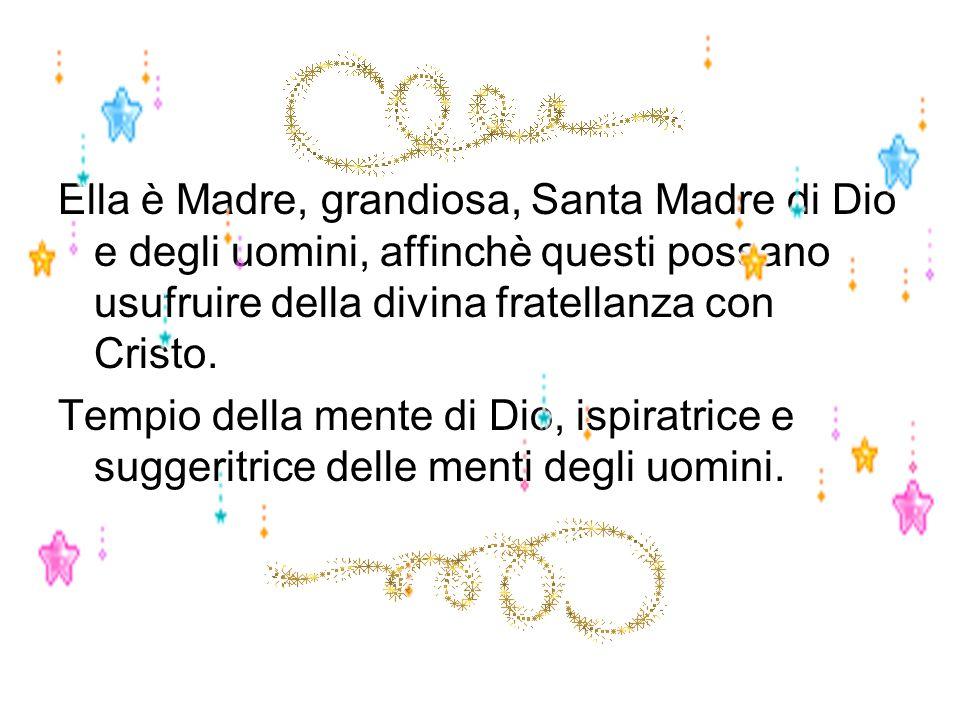 Ella è Madre, grandiosa, Santa Madre di Dio e degli uomini, affinchè questi possano usufruire della divina fratellanza con Cristo.