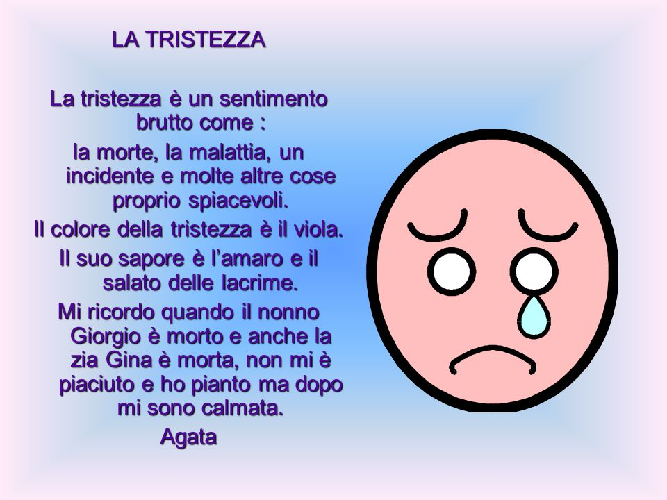 La tristezza è un sentimento brutto come :