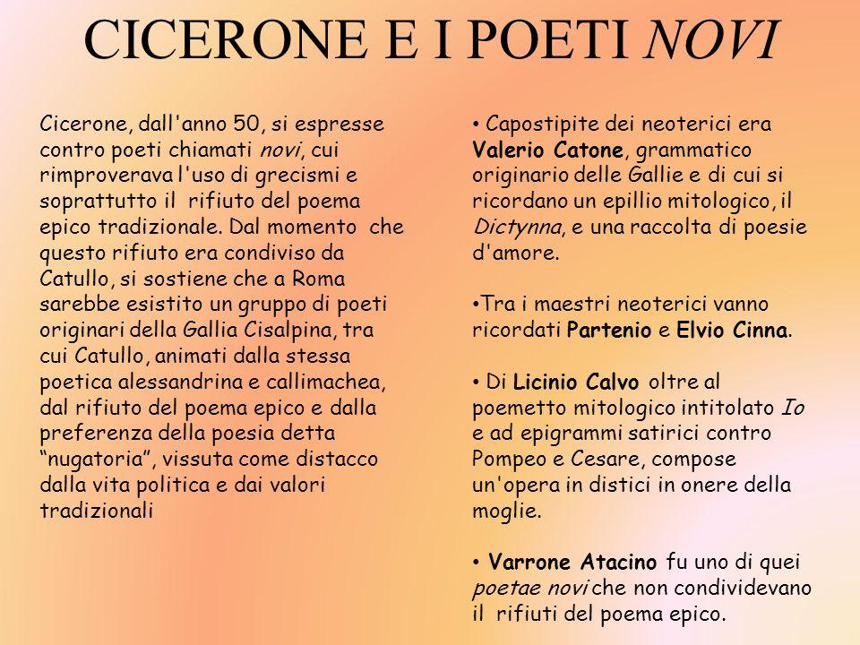 CICERONE E I POETI NOVI