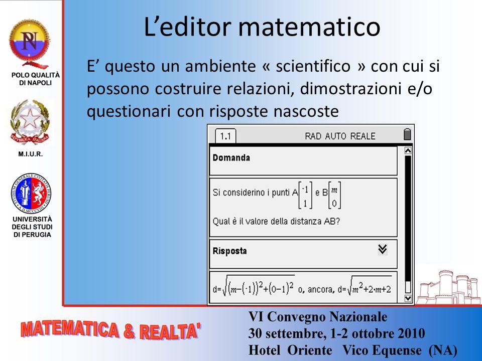 L'editor matematico E' questo un ambiente « scientifico » con cui si possono costruire relazioni, dimostrazioni e/o questionari con risposte nascoste.