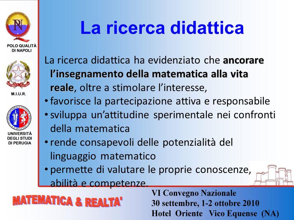 La ricerca didattica La ricerca didattica ha evidenziato che ancorare l'insegnamento della matematica alla vita reale, oltre a stimolare l'interesse,