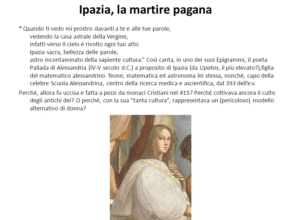 Ipazia, la martire pagana