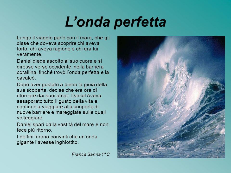 L'onda perfetta Lungo il viaggio parlò con il mare, che gli disse che doveva scoprire chi aveva torto, chi aveva ragione e chi era lui veramente.