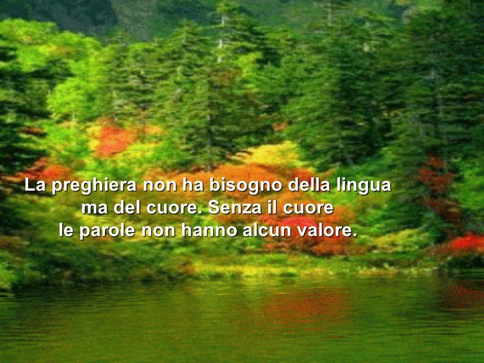 La preghiera non ha bisogno della lingua ma del cuore. Senza il cuore