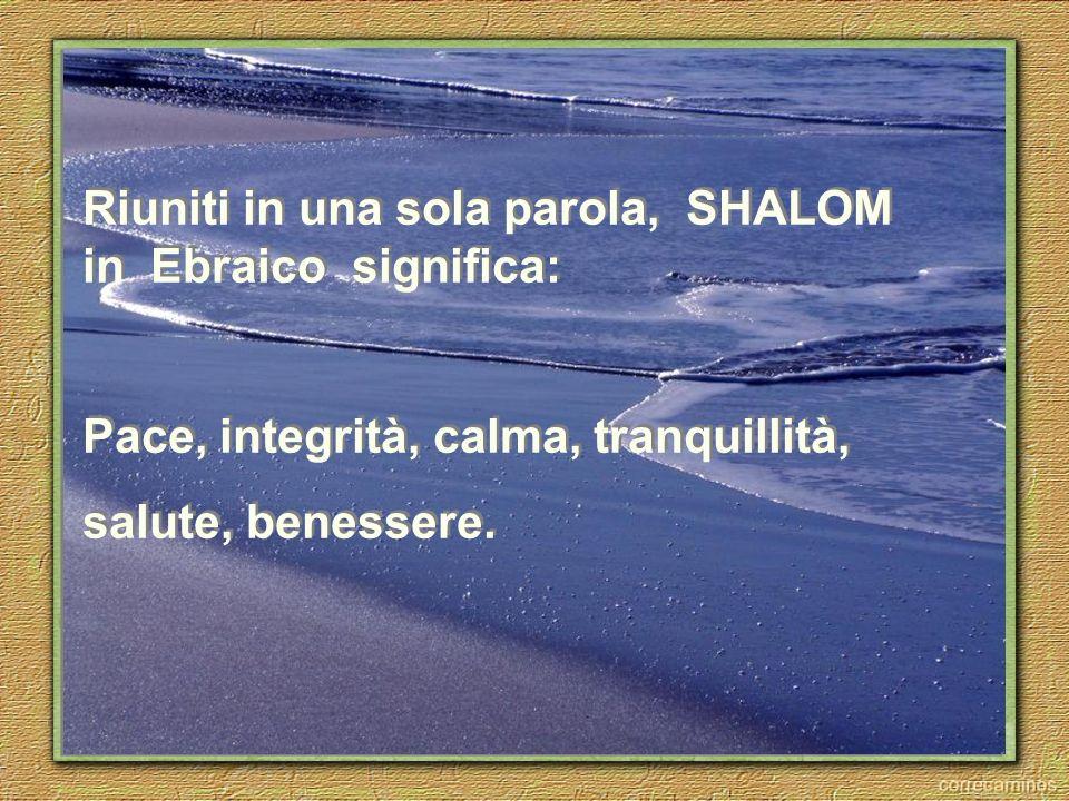 Riuniti in una sola parola, SHALOM in Ebraico significa: