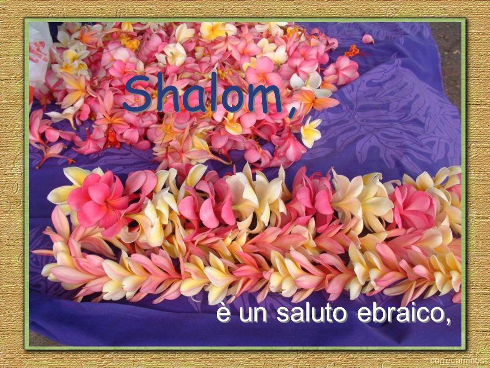 Shalom, è un saluto ebraico,