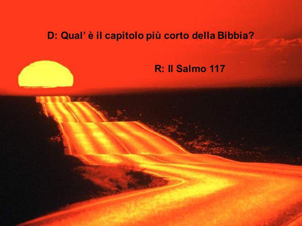 D: Qual' è il capitolo più corto della Bibbia