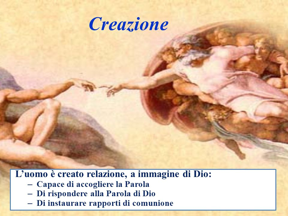 Creazione L'uomo è creato relazione, a immagine di Dio:
