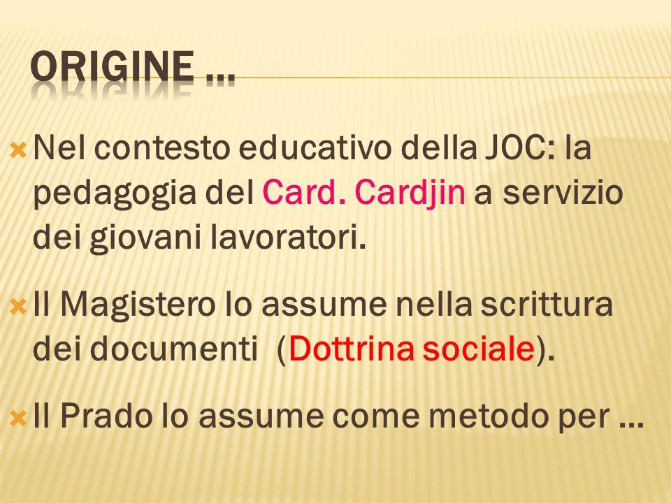 ORIGINE … Nel contesto educativo della JOC: la pedagogia del Card. Cardjin a servizio dei giovani lavoratori.