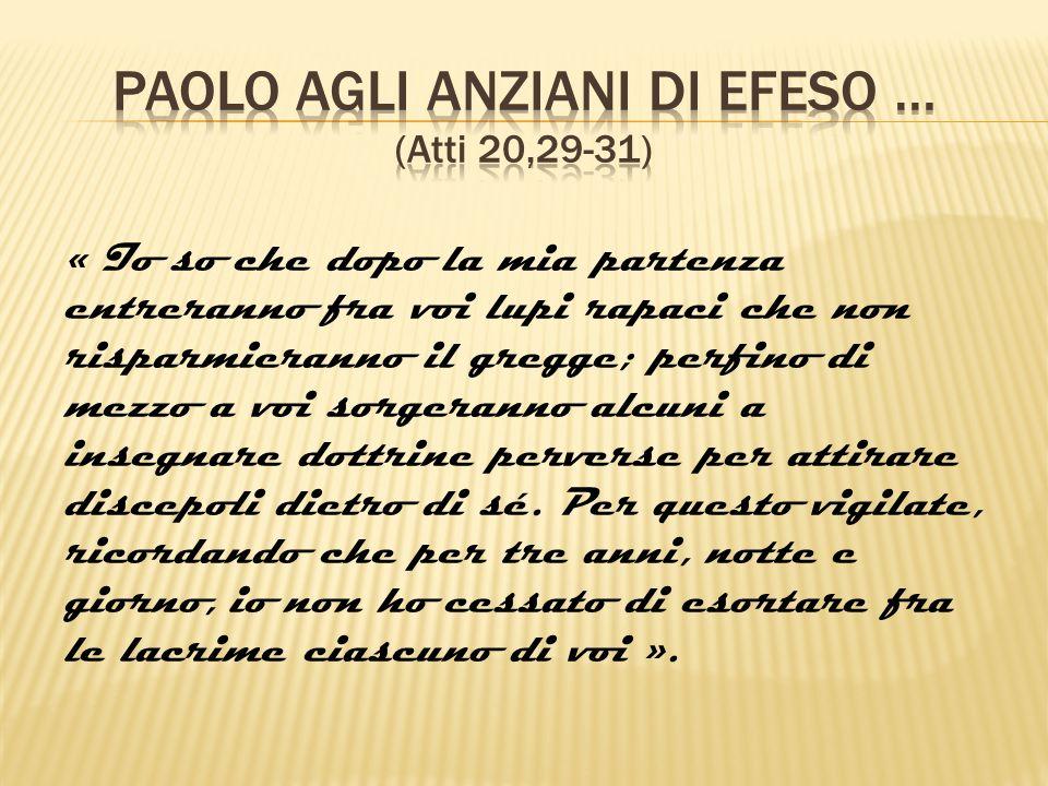 Paolo agli anziani di efeso … (Atti 20,29-31)