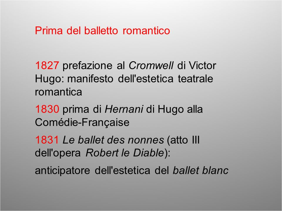 Prima del balletto romantico