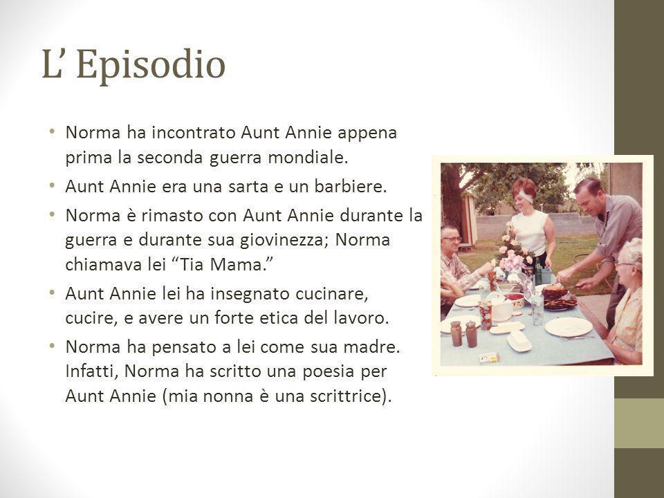 L' Episodio Norma ha incontrato Aunt Annie appena prima la seconda guerra mondiale. Aunt Annie era una sarta e un barbiere.