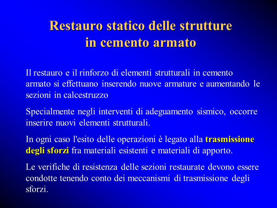 Restauro statico delle strutture in cemento armato