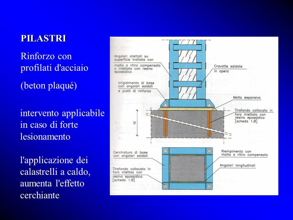 PILASTRI Rinforzo con profilati d acciaio. (beton plaqué) intervento applicabile in caso di forte lesionamento.
