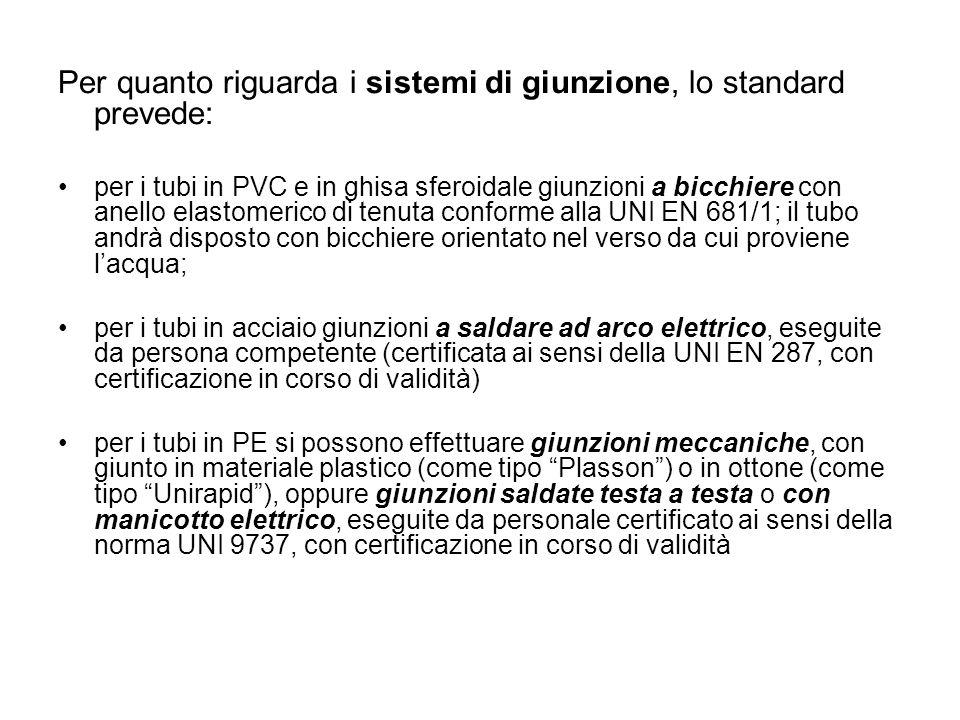 Per quanto riguarda i sistemi di giunzione, lo standard prevede: