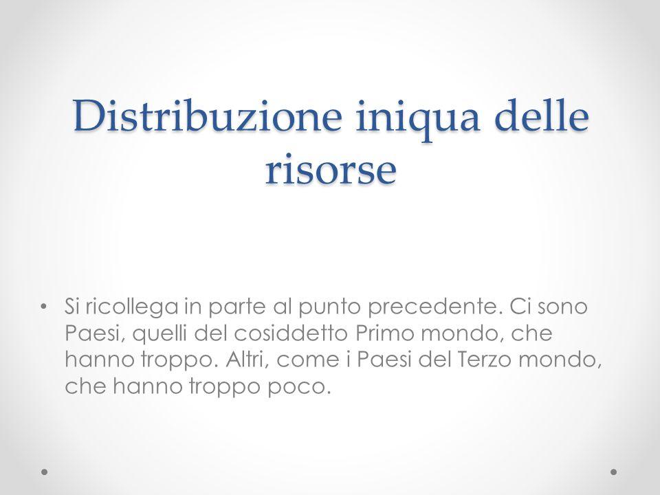 Distribuzione iniqua delle risorse