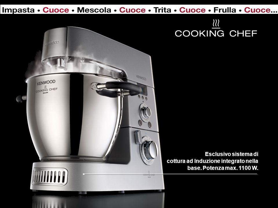Esclusivo sistema di cottura ad Induzione integrato nella base. Potenza max. 1100 W.