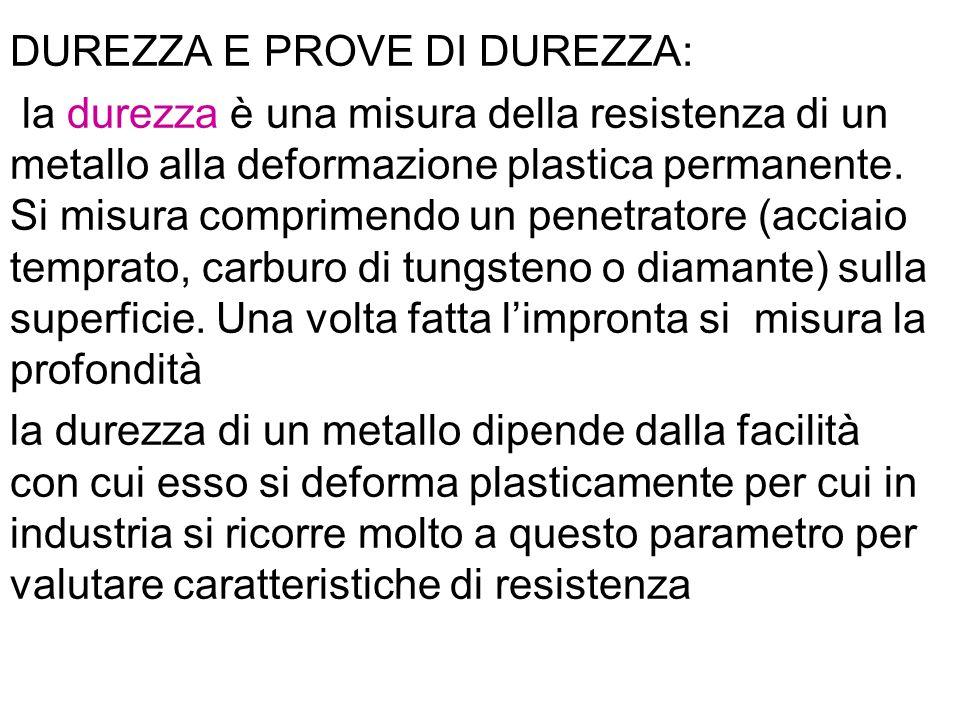 DUREZZA E PROVE DI DUREZZA: