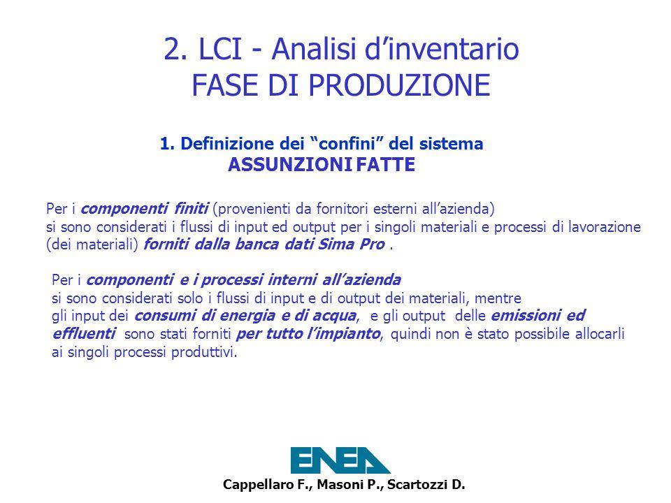 2. LCI - Analisi d'inventario FASE DI PRODUZIONE
