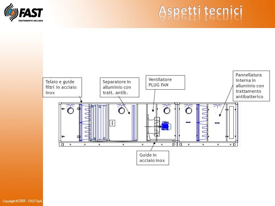 Aspetti tecnici Pannellatura interna in alluminio con trattamento antibatterico. Ventilatore PLUG FAN.