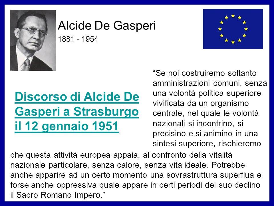 Discorso di Alcide De Gasperi a Strasburgo il 12 gennaio 1951