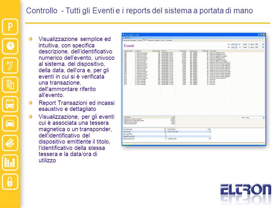 Controllo - Tutti gli Eventi e i reports del sistema a portata di mano