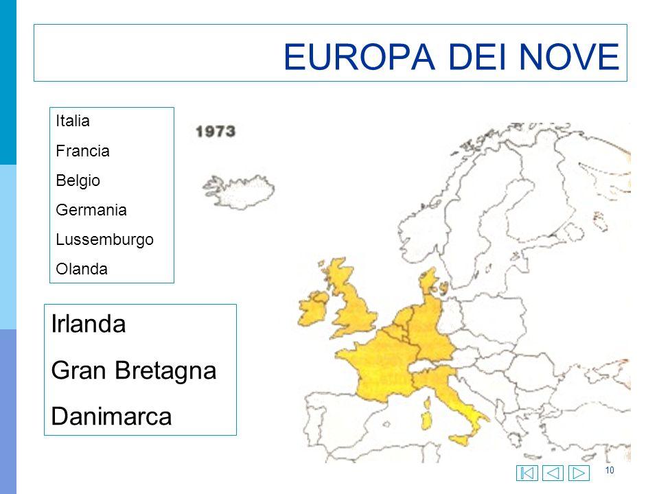 EUROPA DEI NOVE Irlanda Gran Bretagna Danimarca Italia Francia Belgio