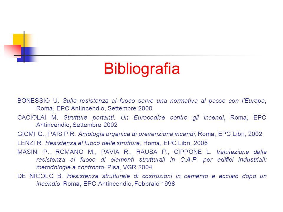 Bibliografia BONESSIO U. Sulla resistenza al fuoco serve una normativa al passo con l'Europa, Roma, EPC Antincendio, Settembre 2000.