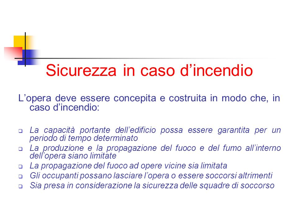 Sicurezza in caso d'incendio