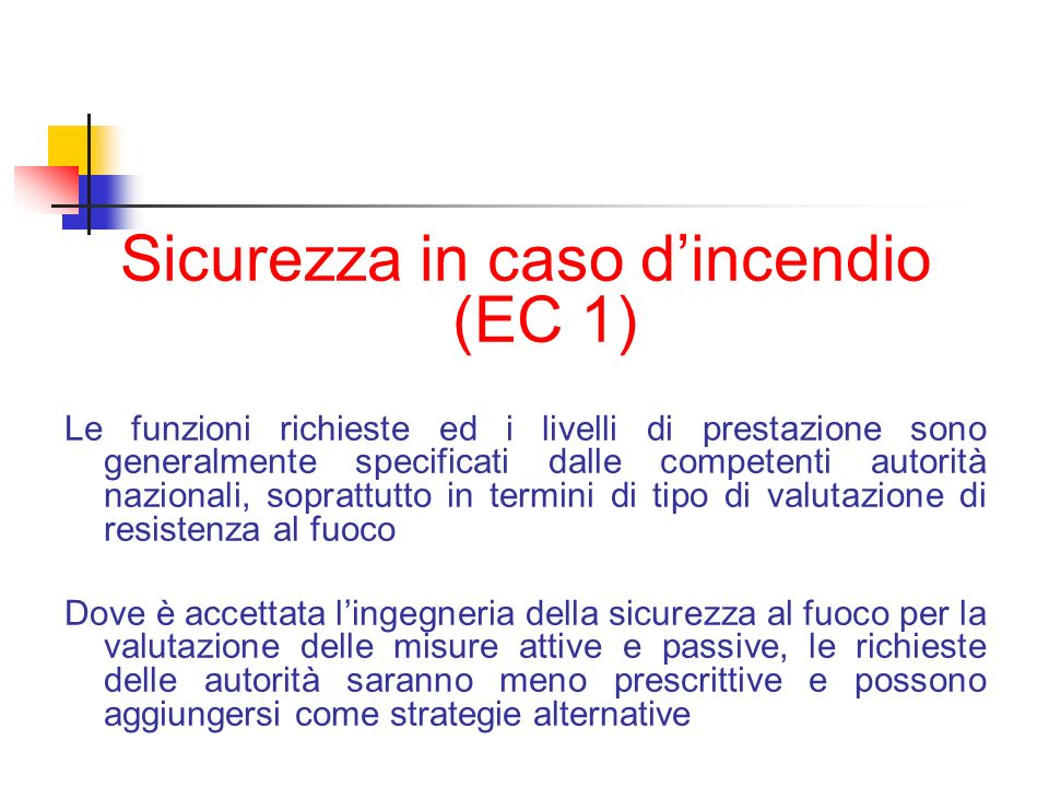 Sicurezza in caso d'incendio (EC 1)