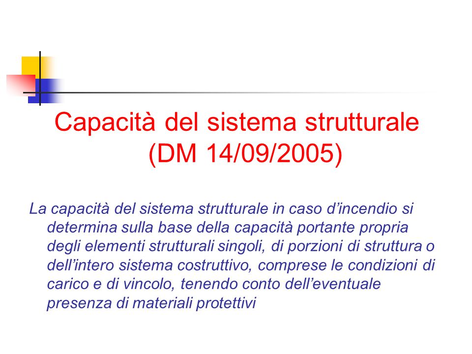 Capacità del sistema strutturale (DM 14/09/2005)