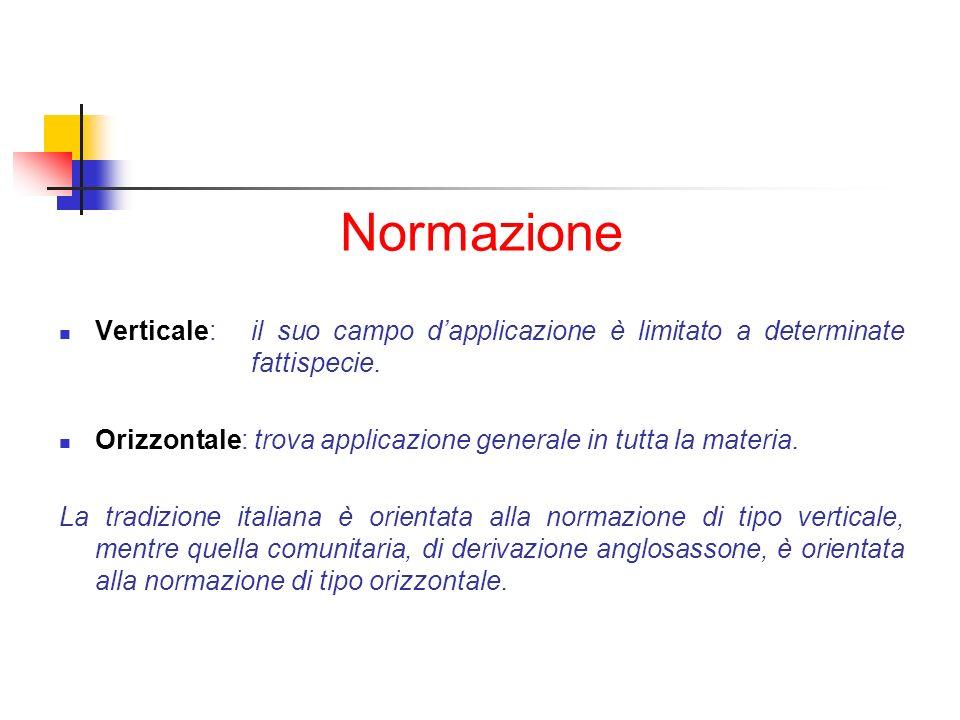 Normazione Verticale: il suo campo d'applicazione è limitato a determinate fattispecie.
