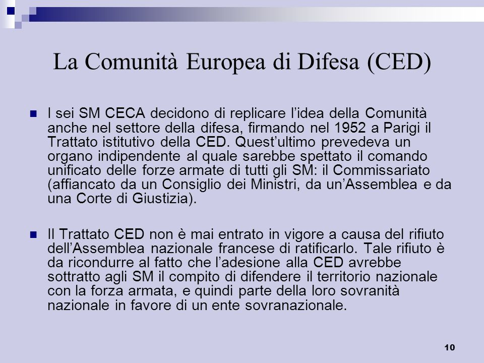 La Comunità Europea di Difesa (CED)