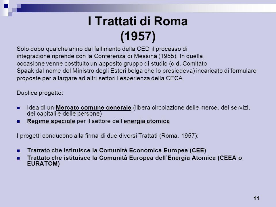 I Trattati di Roma (1957) Solo dopo qualche anno dal fallimento della CED il processo di.
