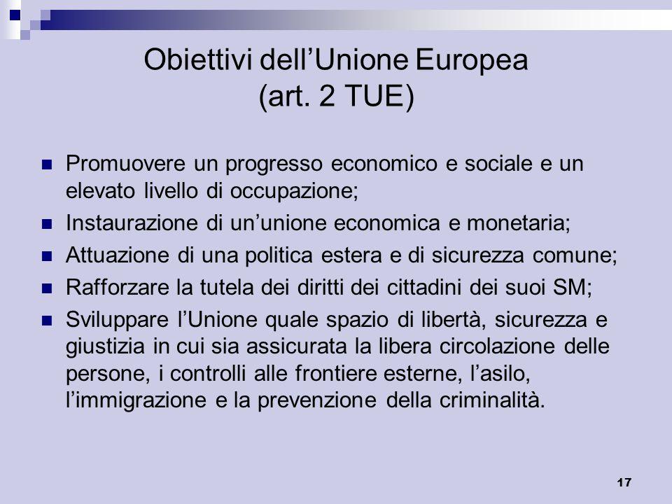 Obiettivi dell'Unione Europea (art. 2 TUE)