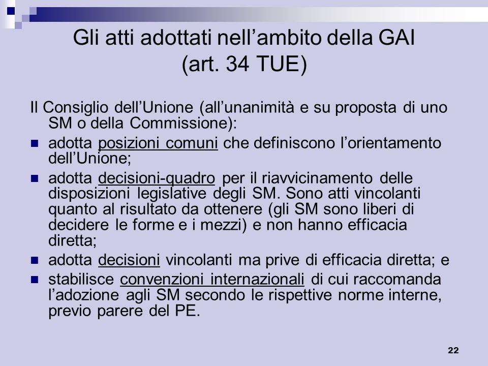 Gli atti adottati nell'ambito della GAI (art. 34 TUE)