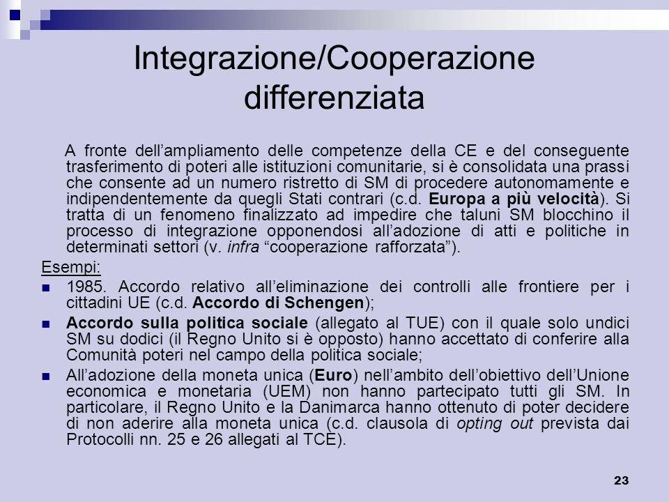 Integrazione/Cooperazione differenziata
