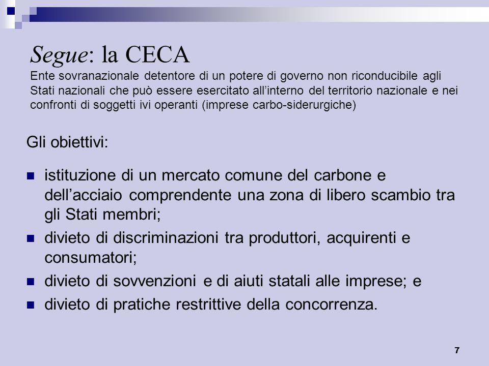 Segue: la CECA Ente sovranazionale detentore di un potere di governo non riconducibile agli Stati nazionali che può essere esercitato all'interno del territorio nazionale e nei confronti di soggetti ivi operanti (imprese carbo-siderurgiche)