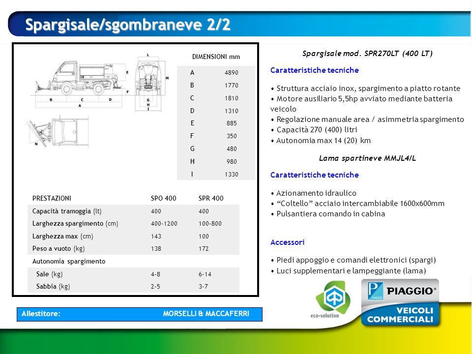 Spargisale mod. SPR270LT (400 LT) Lama spartineve MMJL4/L