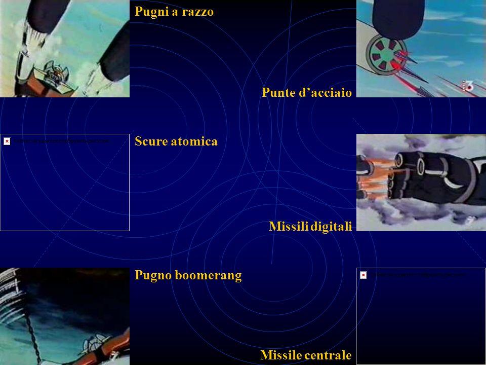 Pugni a razzo Punte d'acciaio Scure atomica Missili digitali Pugno boomerang Missile centrale
